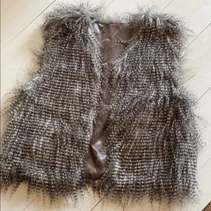 New gray feathered fur vest large